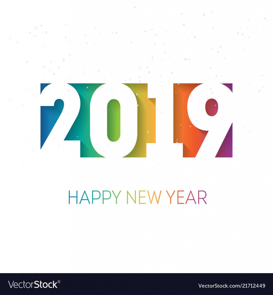 Happy new year 2019 vector background with the rainbow gradient. Cover of business diary for 2019 with wishes. Greeting colorful card. Vector brochure design template.